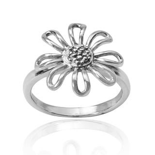 Handmade Modish Chamomile Flower Outline .925 Sterling Silver Ring (Thailand)