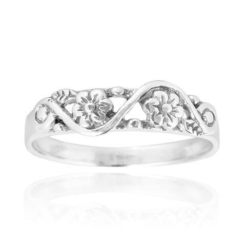 Handmade Sweet Swirl Floral Vine Sterling Silver Ring (Thailand)