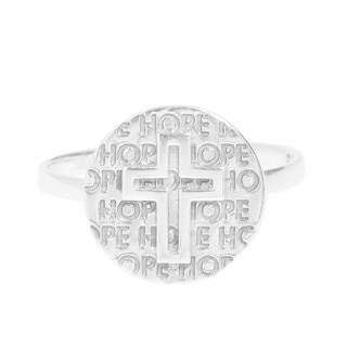 Cross of Hope Round Disc .925 Sterling Silver Ring (Thailand)