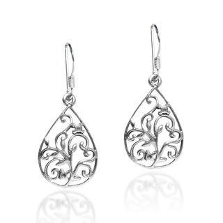 Handmade Vintage Floral Vine Teardrop .925 Sterling Silver Dangle Earrings (Thailand)