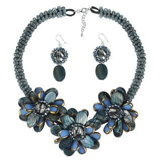 Handmade Blue Accent Painted Mother of Pearl Necklace Earrings Jewelry Set (Thailand)