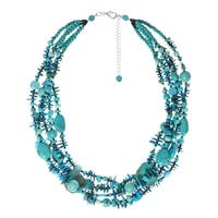 Handmade Turquoise Rapids Multi Chunky Strand Necklace (Thailand)