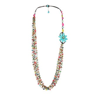Turquoise Flower in Bloom Multistone Long Layer Handmade Necklace (Thailand)