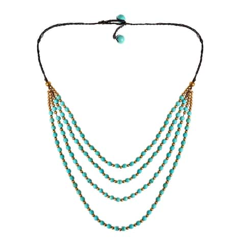 Handmade Perfection Turquoise Belle Four Layer Necklace (Thailand)