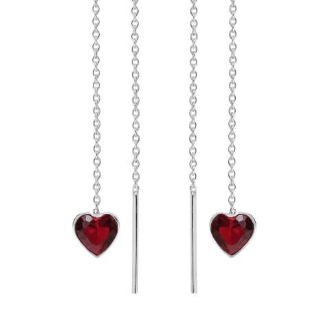 Handmade Sweet Heart Cubic Zirconia Thread Slide Sterling Silver Earrings (Thailand)