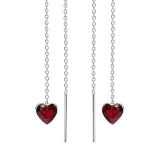 Handmade Sweet Heart Cubic Zirconia Thread Slide Sterling Silver Earrings (Thailand )