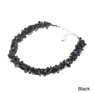 Handmade Oval gemstones with Seed Beads Clustered Chunky Strand Necklace (Thailand)