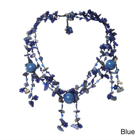 Casual Twist gemstone Handmade Layered Strand Drop Necklace (Thailand)