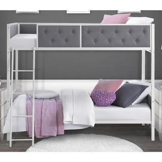 DHP Chesterfield Grey Upholstered Bunk Bed