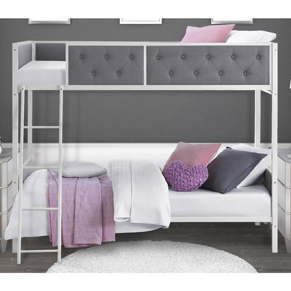 DHP Chesterfield Grey Upholstered Bunk Bed Free Shipping Today