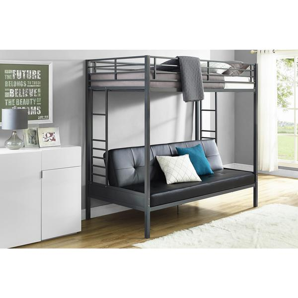 dhp jasper gunmetal premium twin over futon bunk bed with black mattress dhp jasper gunmetal premium twin over futon bunk bed with black      rh   overstock