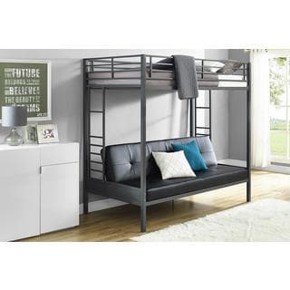 DHP Jasper Gunmetal Premium Twin Over Futon Bunk Bed with Black Mattress