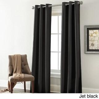 Amrapur Overseas Textured Blackouut Curtain Panel Pair - 37 x 84 (Jet Black)