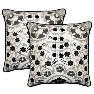 Susan Grey and White 20-inch Throw Pillow