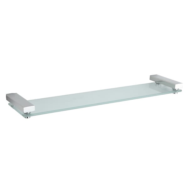 Cortesi Home Contemporary Stainless Steel Glass Vanity Shelf, Chrome ...