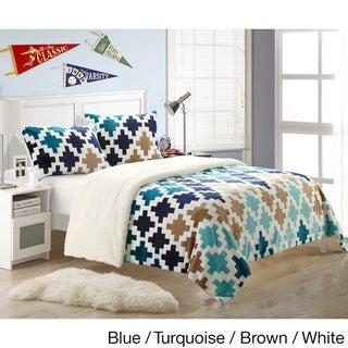 Chic Home Mia 3-piece Plush Microsuede Printed Sherpa Blanket
