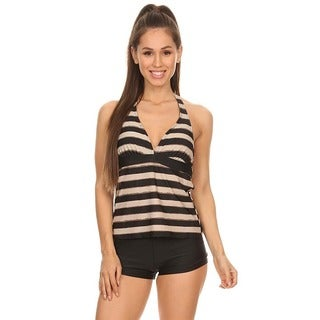 Dippin' Daisy's Brown Stripe Two Piece Tankini with Boyshorts