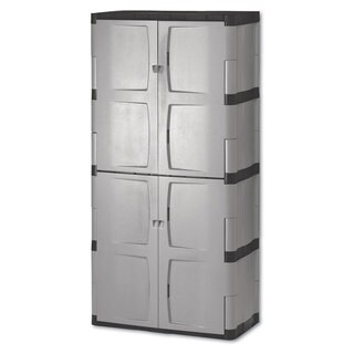 Rubbermaid Gray/Black Double-Door Storage Cabinet - Base/Top