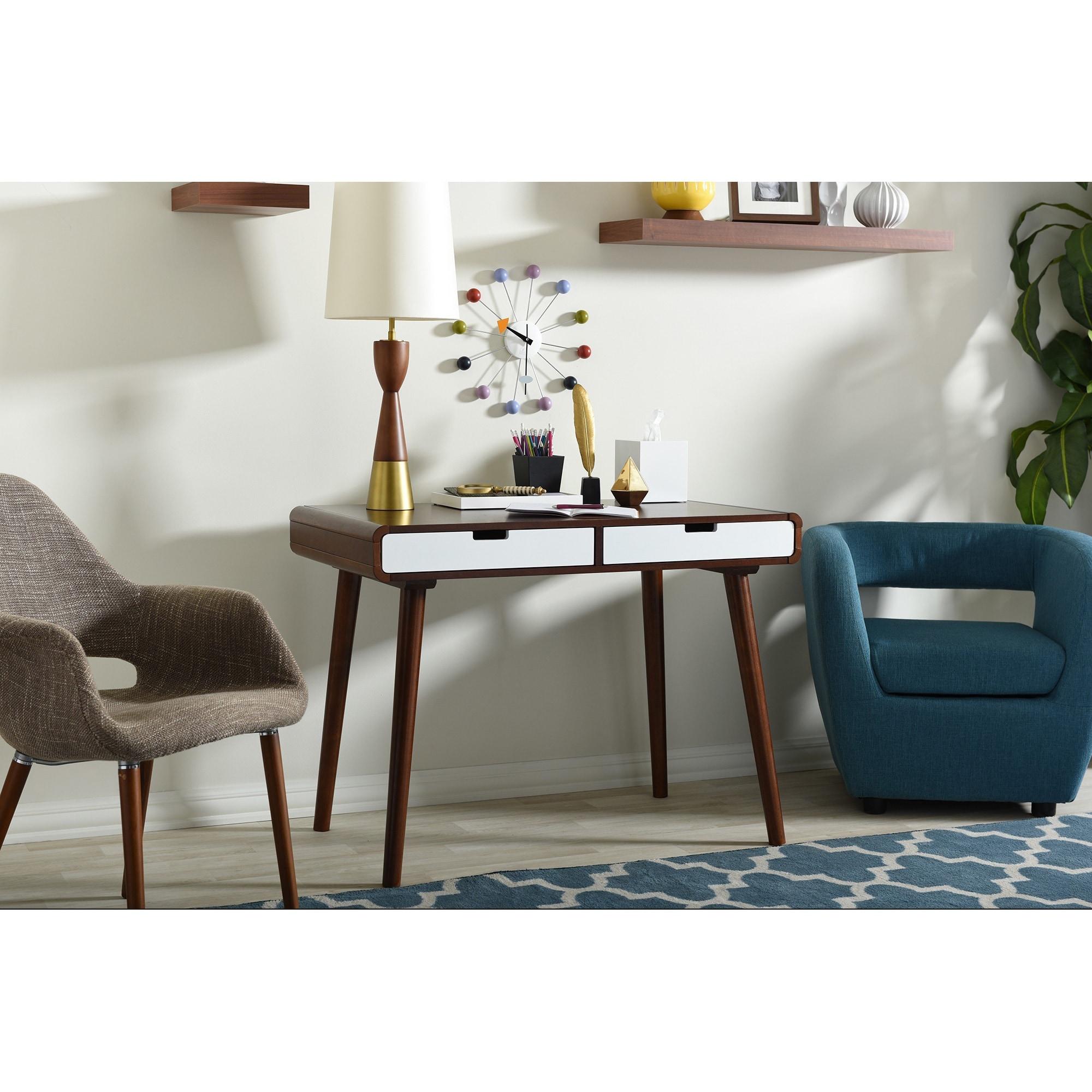 Baxton Studio Casarano Mid Century Dark Walnut And White Two Tone Finish 2 Drawer Wood Writing Desk Overstock 10669649