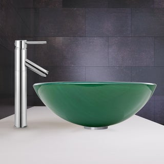 VIGO Whispering Wind Vessel Sink and Dior Faucet Set in Chrome
