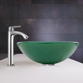 VIGO Whispering Wind Vessel Sink and Linus Faucet Set in a Chrome Finish