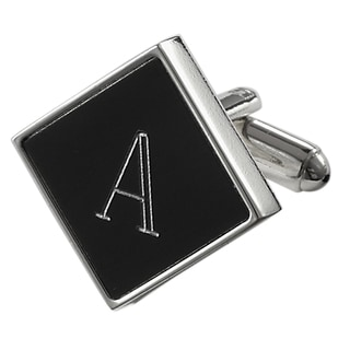 Visol Grove Personalized Black Matte Square Cufflinks