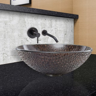 VIGO Copper Shield Glass Vessel Sink and Olus Wall Mount Faucet Set in Antique Rubbed Bronze Finish