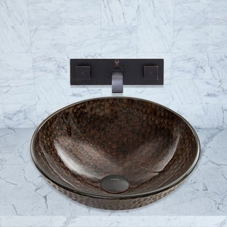 VIGO Copper Shield Glass Vessel Sink and Titus Wall Mount Faucet Set in an Antique Rubbed Bronze Finish
