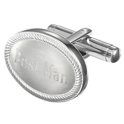 Visol Ovale Personalized Stainless Steel Best Man Cufflinks