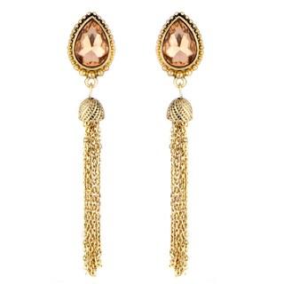 Pink Pear Cut Tassle Dangle Earrings