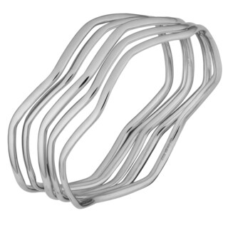 Argento Italia Sterling Silver Set of Five Wave Bangle