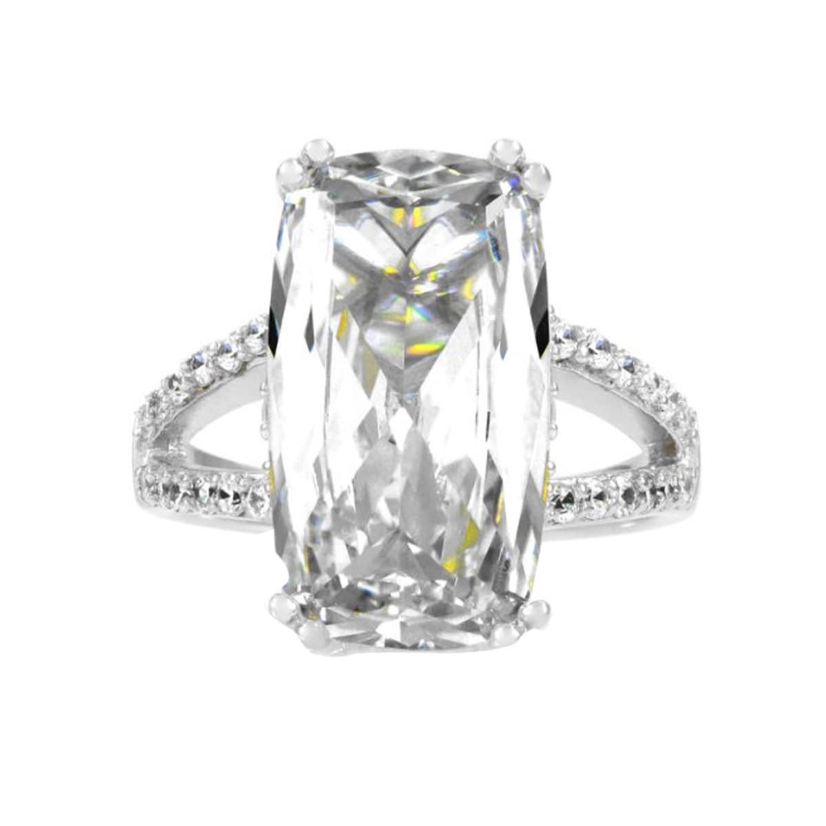 Sterling Silver Emerald Cut CZ Split Band Wedding Ring (8...