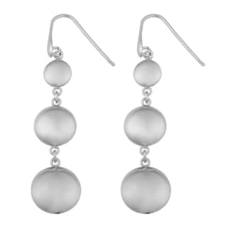Argento Italia Rhodium Plated Sterling Silver Graduated Puff Disc Dangle Earrings