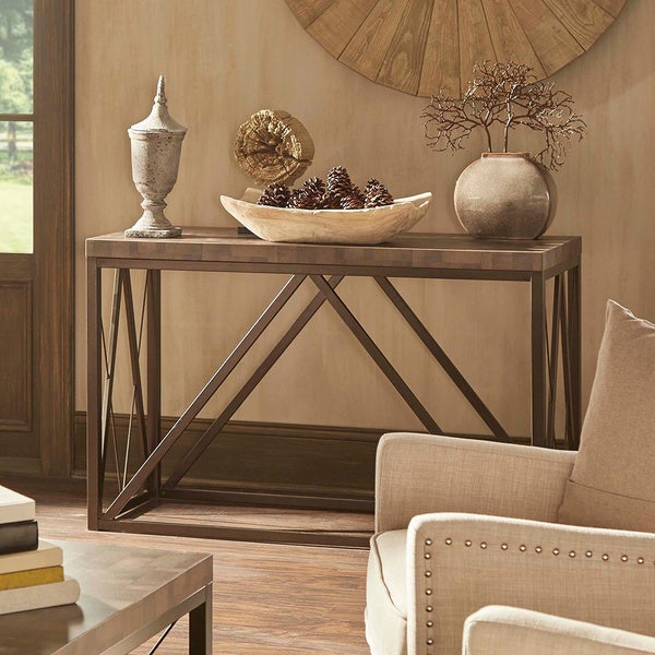 Parson Console Table Canal Contemporary Bronze Metal Occasional Media Console Sofa Table ...