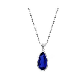 Isla Simone Fine Jewelry Platinum Plated Sterling Silver Slim Tear CZ Necklace (4 options available)
