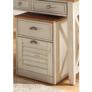 Ocean Isle Bisque and Natural Pine File Cabinet