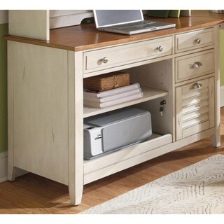 Havenside Home Onemo Antique White and Natural Pine Computer Credenza