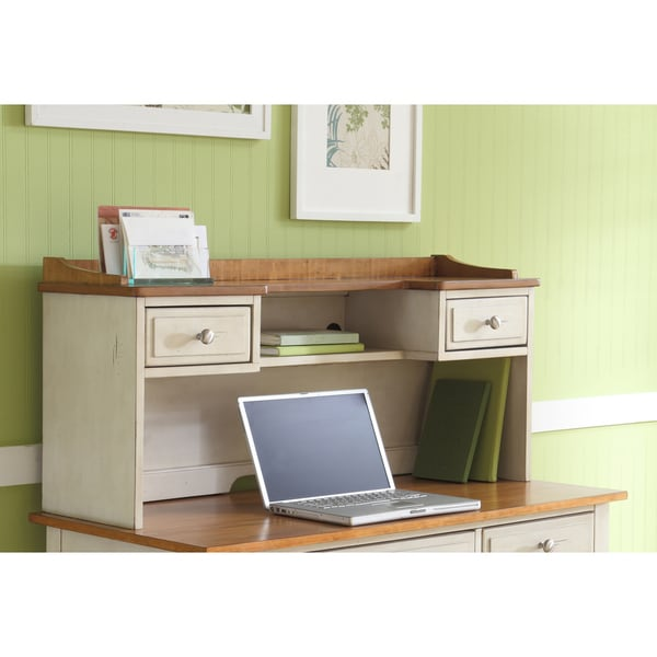 Ocean Isle Bisque And Natural Pine Writing Desk Hutch