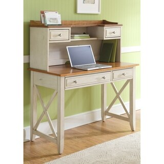 Havenside Home Onemo Antique White and Natural Pine Writing Desk Hutch