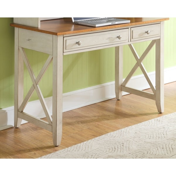 Havenside Home Onemo Antique White and Natural Pine Writing Desk - Shop Havenside Home Onemo Antique White And Natural Pine Writing