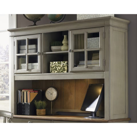Bungalow Driftwood and Taupe Jr Executive Credenza Hutch