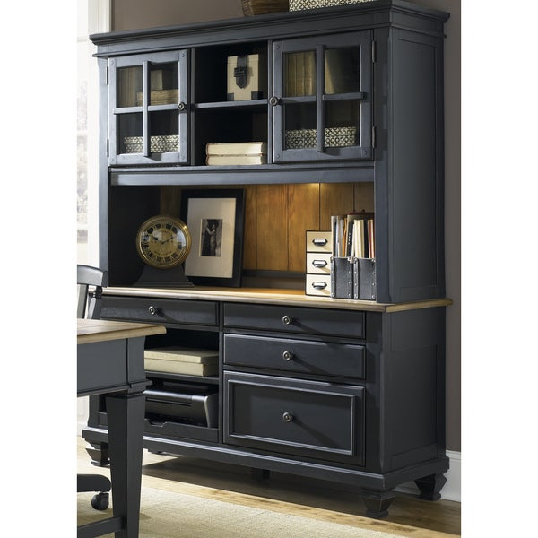 Bungalow Driftwood And Black Jr Executive Credenza Hutch