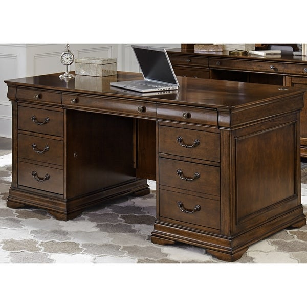 Shop Chateau Valley Brown Cherry Jr Executive Desk On