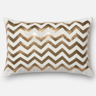 "Sequin Gold/ White Chevron Down Feather or Polyester Filled Throw Pillow or Pillow Cover (13"" x 21"")"
