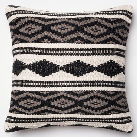 Woven Diamond Stripe Grey/ Multi 22-inch Throw Pillow or Pillow Cover