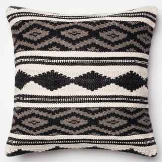 Woven Diamond Stripe Grey/ Multi Down Feather or Polyester Filled 22-inch Throw Pillow or Pillow Cover