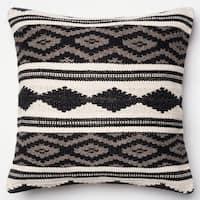 Woven Diamond Stripe Grey/ Multi Throw Pillow or Pillow Cover 22 x 22