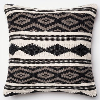 Woven Diamond Stripe Grey/ Multi 22-inch Throw Pillow or Pillow Cover