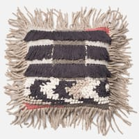Woven Bohemian Fringe Grey/ Multi 18-inch Throw Pillow or Pillow Cover