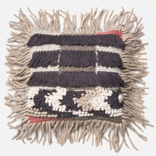 Link to Woven Bohemian Fringe Grey/ Multi 18-inch Throw Pillow or Pillow Cover Similar Items in Decorative Accessories